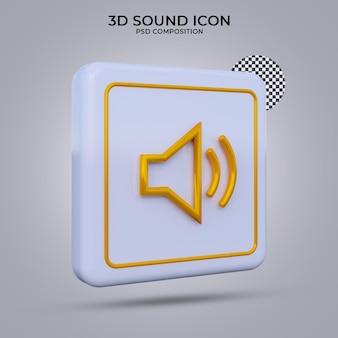 Ikona dźwięku renderowania 3d na białym tle
