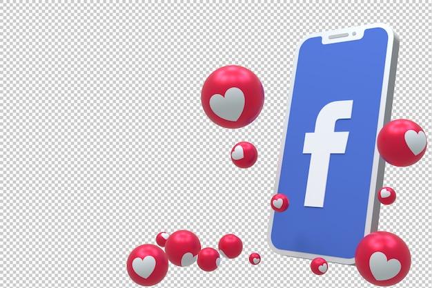 Ikona facebook na ekranie smartfona lub mobilnego renderowania 3d i reakcje na facebooku uwielbiają, wow, jak emoji renderowania 3d