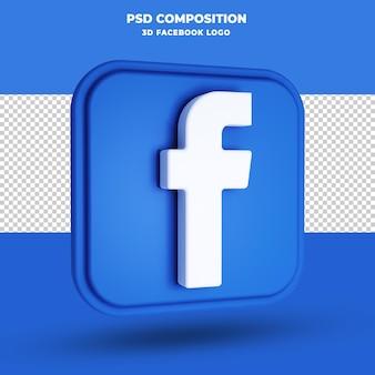 Ikona facebook renderowania 3d na białym tle