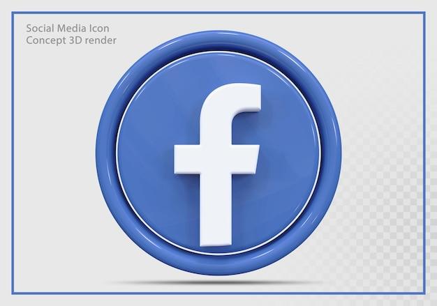 Ikona facebooka 3d render nowoczesny