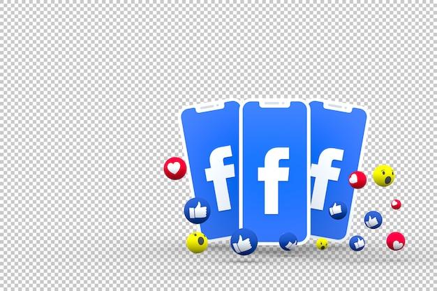 Ikona facebooka na ekranach smartfonów i reakcje na facebooku
