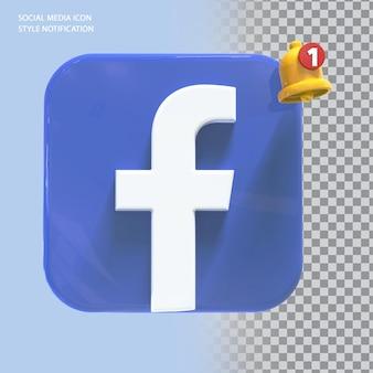Ikona facebooka w mediach społecznościowych z powiadomieniem dzwonkiem 3d