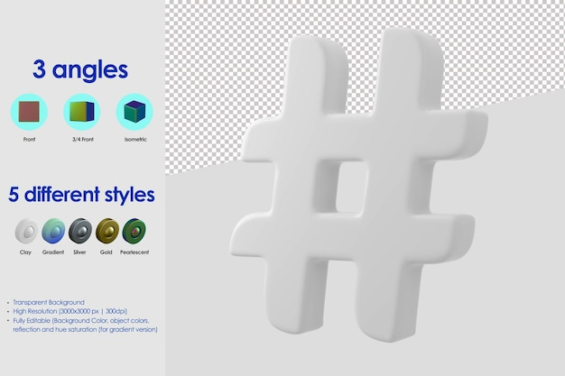 Ikona hashtagu 3d