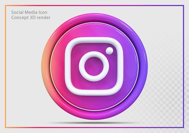 Ikona instagram 3d render nowoczesny