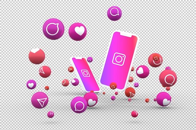 Ikona instagram na ekranie smartfona lub telefonu komórkowego i reakcje instagram uwielbiają renderowanie 3d