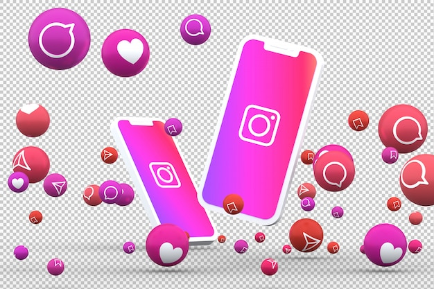 Ikona instagram na smartfonach z ekranem i reakcje na instagramie