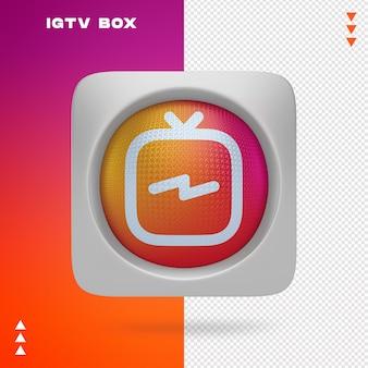 Ikona instagram tv w pudełku w renderowaniu 3d na białym tle