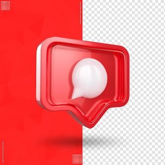 Ikona instagrama po prawej stronie komentarz w renderowaniu 3d