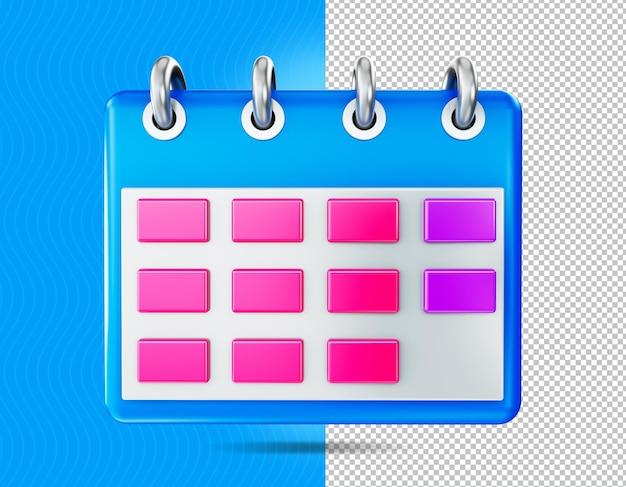 Ikona kalendarza renderowania 3d