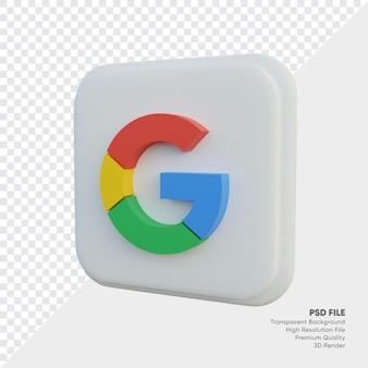 Ikona koncepcji logo w stylu izometrycznym 3d google w okrągłym rogu kwadratu na białym tle
