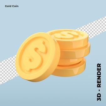 Ikona kreskówka złota moneta na białym tle