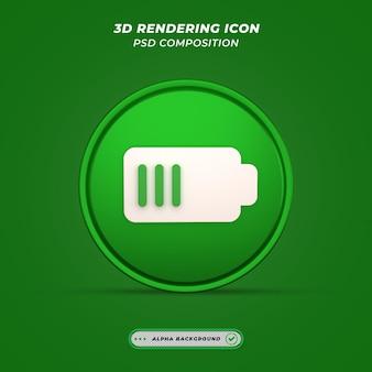 Ikona ładowania baterii w renderowaniu 3d