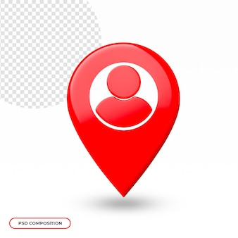 Ikona lokalizacji lub mapy na białym tle w renderowaniu 3d