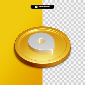 Ikona lokalizacji renderowania 3d na złotym okręgu na białym tle