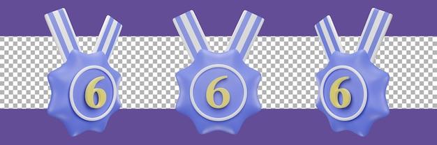 Ikona medal numer 6 w różnych widokach. renderowanie 3d