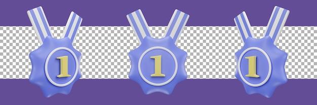 Ikona medalu numer 1 w różnych widokach. renderowanie 3d