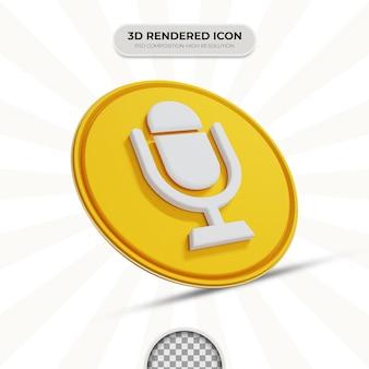 Ikona mikrofonu renderowania 3d