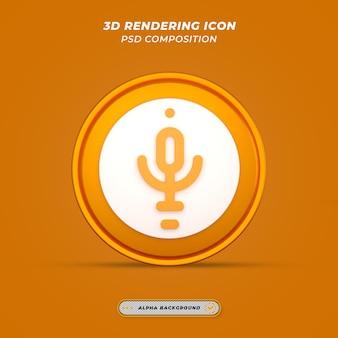Ikona mikrofonu w renderowaniu 3d