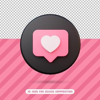 Ikona miłości 3d w renderowaniu 3d na białym tle