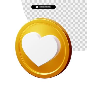 Ikona miłości renderowania 3d na białym tle
