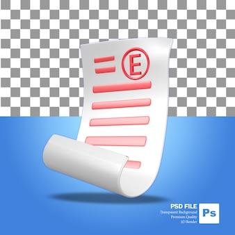 Ikona obiektu renderowania 3d arkusz papieru ze złymi ocenami do egzaminów szkolnych