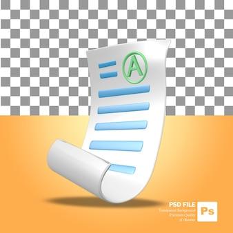 Ikona obiektu renderowania 3d arkusz wyników testów szkolnych z dobrymi ocenami