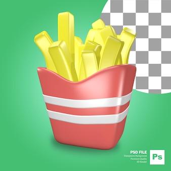 Ikona obiektu renderowania 3d frytki jedzące fast food z pudełkiem na jedzenie