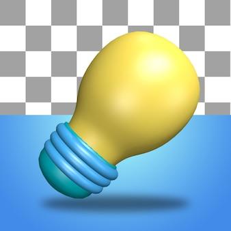 Ikona obiektu renderowania 3d ikony pomysłu żarówki żółtej energii