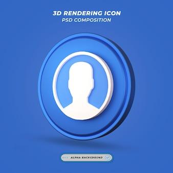 Ikona osoby użytkownika w renderowaniu 3d