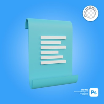Ikona paragonu faktury 3d prosty obiekt