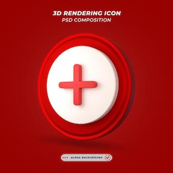 Ikona plus w renderowaniu 3d