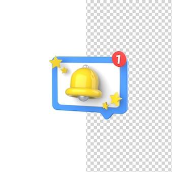 Ikona powiadomienia o alarmie wiadomości model renderowania 3d na białym tle na białym tle