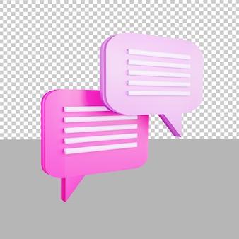 Ikona projektu 3d ilustracja dialogu czatu dla biznesu