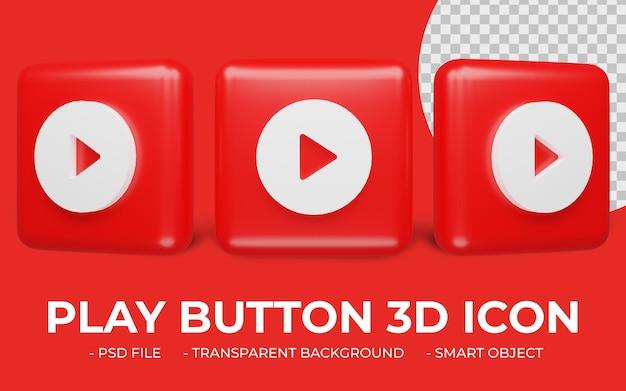 Ikona przycisku odtwarzania wideo renderowania 3d na białym tle