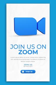 Ikona renderowania 3d do powiększania i szablonu opowieści w mediach społecznościowych