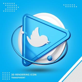 Ikona renderowania 3d social media twitter