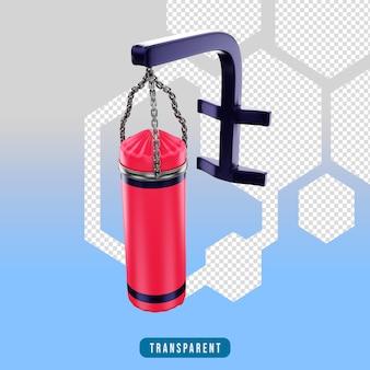Ikona renderowania 3d sprzęt do ćwiczeń w worku treningowym