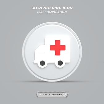 Ikona samochodu pogotowia w renderowaniu 3d