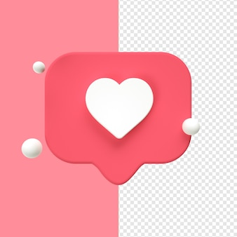 Ikona serca przezroczysty 3d