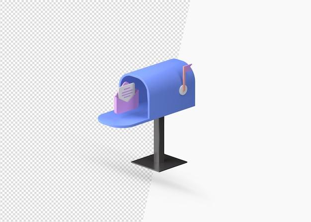 Ikona skrzynki pocztowej renderowania 3d