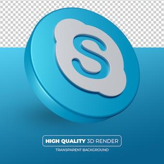 Ikona skype 3d renderowania na białym tle