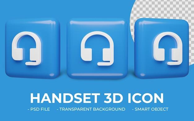 Ikona słuchawki lub słuchawki renderowania 3d na białym tle