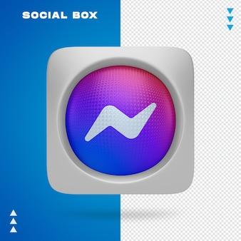 Ikona społecznościowa w polu w renderowaniu 3d na białym tle