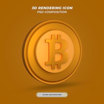 Ikona symbolu bitcoin w renderowaniu 3d