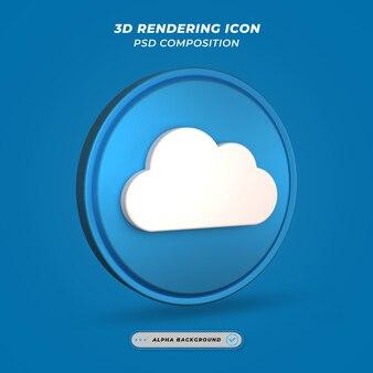 Ikona symbolu chmury w renderowaniu 3d