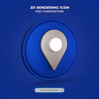 Ikona symbolu mapy lokalizacji w renderowaniu 3d