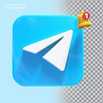 Ikona telegramu mediów społecznościowych z powiadomieniem dzwonkiem 3d