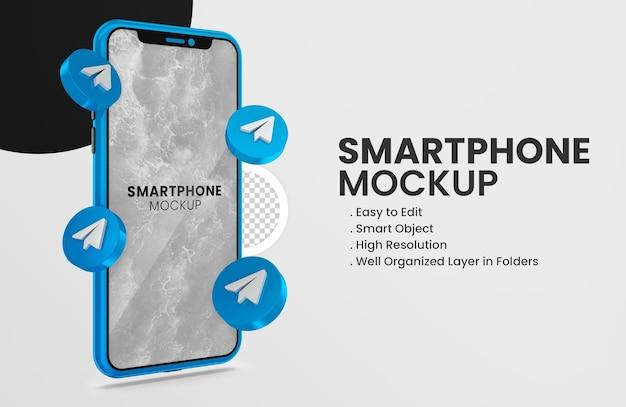 Ikona telegramu renderowania 3d na niebieskiej makiecie smartfona