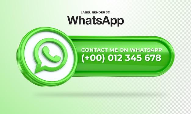 Ikona transparentu whatsapp skontaktuj się ze mną etykieta 3d render na białym tle