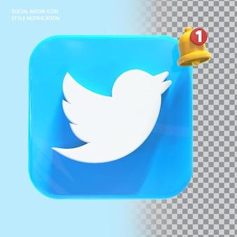 Ikona twitte w mediach społecznościowych z powiadomieniem dzwonkiem 3d